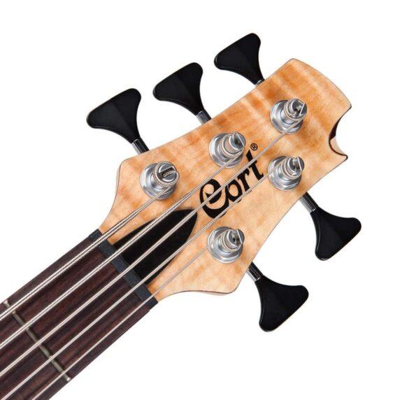 Cort Artisan A5 Plus FMMH Open Pore Natural Bass Guitar headstock
