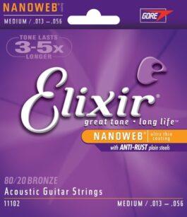 Elixir 80/20 BRONZE NANOWEB 13 GAUGE ACOUSTIC GUITAR STRINGS