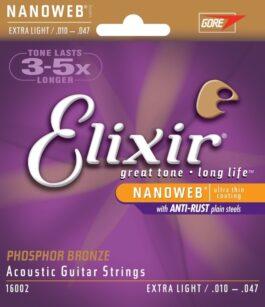 Elixir NANOWEB EXTRA-LIGHT 10-47 PHOSPHOR BRONZE ACOUSTIC GUITAR STRINGS