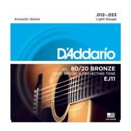 D'Addario EJ11 80/20 Bronze Acoustic Guitar Strings (12-53)