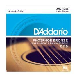 D'Addario EJ16 80/20 Bronze Acoustic Guitar Strings (12-53)