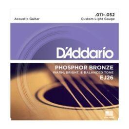 D'Addario EJ26 PHOSPOR BRONZE CUSTOM LIGHT ACOUSTIC GUITAR STRINGS