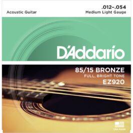 D'Addario EZ920 85/15 Bronze Acoustic Guitar Strings (12-54)
