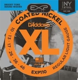 D'Addario EXP110 COATED NICKLE WOUND ELECTRIC GUITAR STRINGS