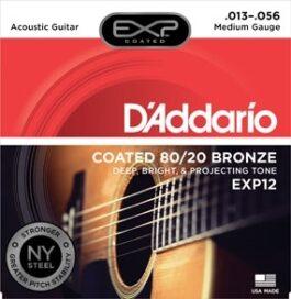 D'Addario EXP12 COATED 80/20 Bronze Electric Guitar Strings (13-56)