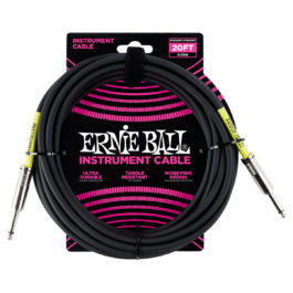 Ernie Ball 20′ Straight/Angled Instrument Cable Black
