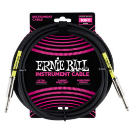 Ernie Ball 10′ Straight/Straight Instrument Cable – Black