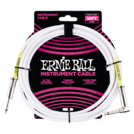 Ernie Ball 10′ Straight/Angled Instrument Cable – White