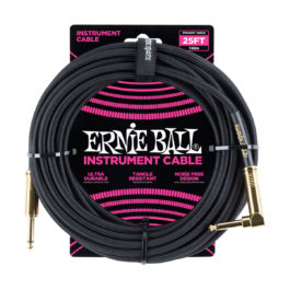 Ernie Ball 25′ Braided Straight/Angled Instrument Cable – Black