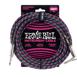 ERNIE BALL 25′ BRAIDED STRAIGHT / ANGLE INSTRUMENT CABLE – BLACK / RED / BLUE / WHITE