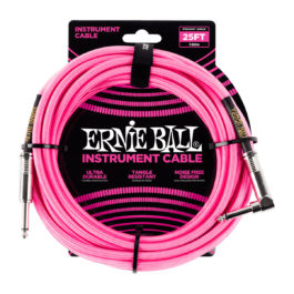 ERNIE BALL 25′ BRAIDED STRAIGHT / ANGLE INSTRUMENT CABLE – NEON PINK