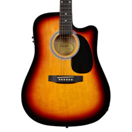 Fender SA-105CE Dreadnought Cutaway Acoustic/Electric Guitar – Sunburst