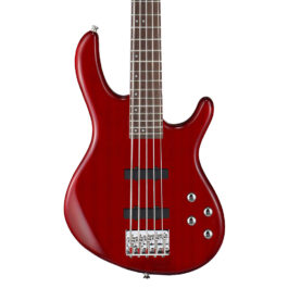 Cort Action Bass V Plus – 5 String Bass Guitar – 2-Band EQ – Transparent red