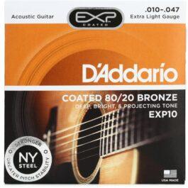 D'Addario EXP10 80/20 Bronze Acoustic Guitar Strings (10-47)