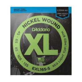 D'Addario EXL165 5-String Long Scale Bass Guitar Strings (45-135)