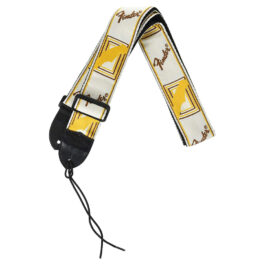 "Fender 2"" Monogrammed Strap – White/brown/yellow"