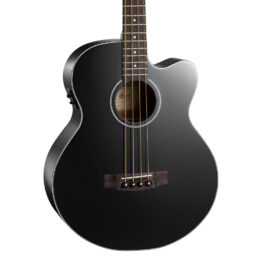 Cort AB850F Acoustic-Electric 4-String Bass Guitar – Black