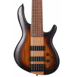 Cort C6 Plus ZBMH 6-String Bass Guitar w/ Markbass Pre – Open Pore Tobacco Burst