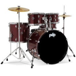 PDP DWPDCE22KTRST Center Stage 5 Piece Drum Kit Including Hardware & Cymbals – Ruby Red