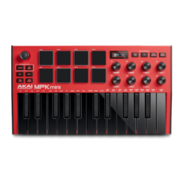 Akai MPK Mini MkIII – 25 Key USB MIDI Controller with MPC Drum Pads – Limited Edition Red