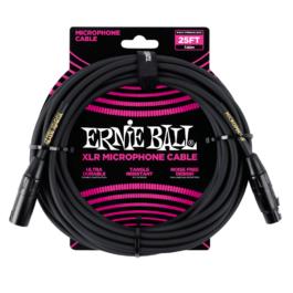 Ernie Ball Male/Female XLR Mic Cable – Black – 7.6m