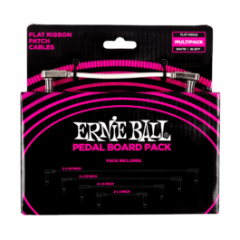 Ernie Ball Flat Ribbon Pedalboard Patch Cable Multi-Pack – White
