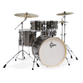 Gretsch GE4E825GS Energy 5-Piece Drumkit with Hardware and Meinl Cymbal Pack – Grey Steel