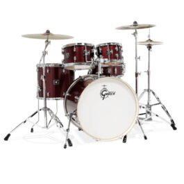 Gretsch GE4E825RS Energy 5-Piece Drumkit with Hardware and Meinl Cymbal Pack – Ruby Sparkle